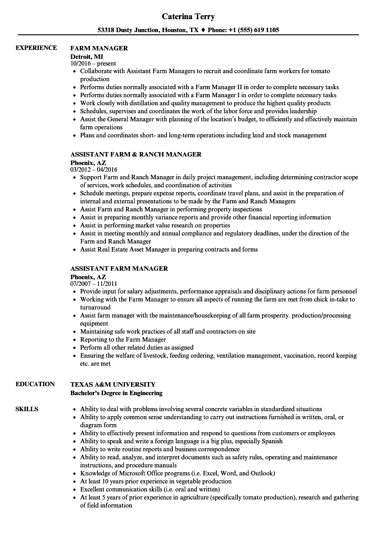 sample resume for farm manager