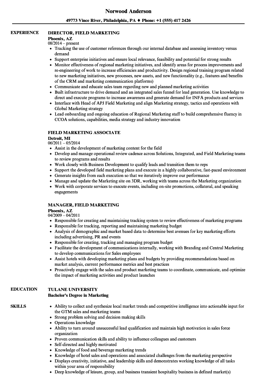 Field Marketing Resume Samples  Velvet Jobs