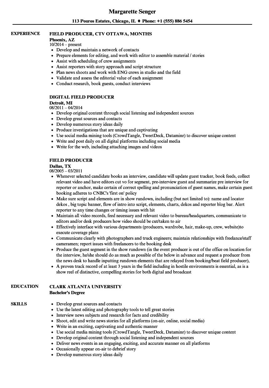 sample digital producer resume