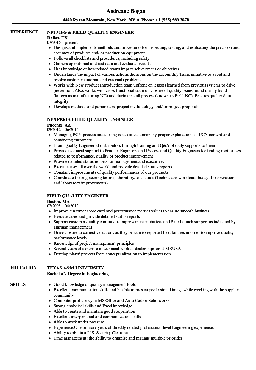 Field Quality Engineer Resume Samples  Velvet Jobs