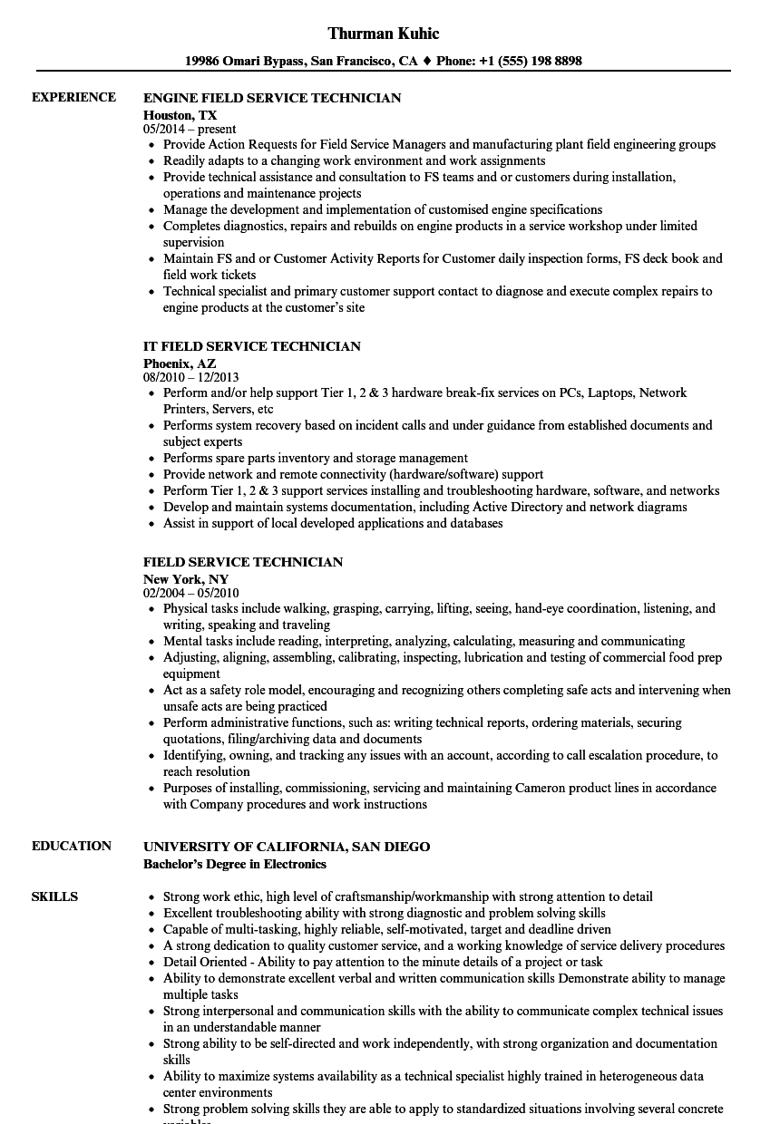 appliance technician resume examples
