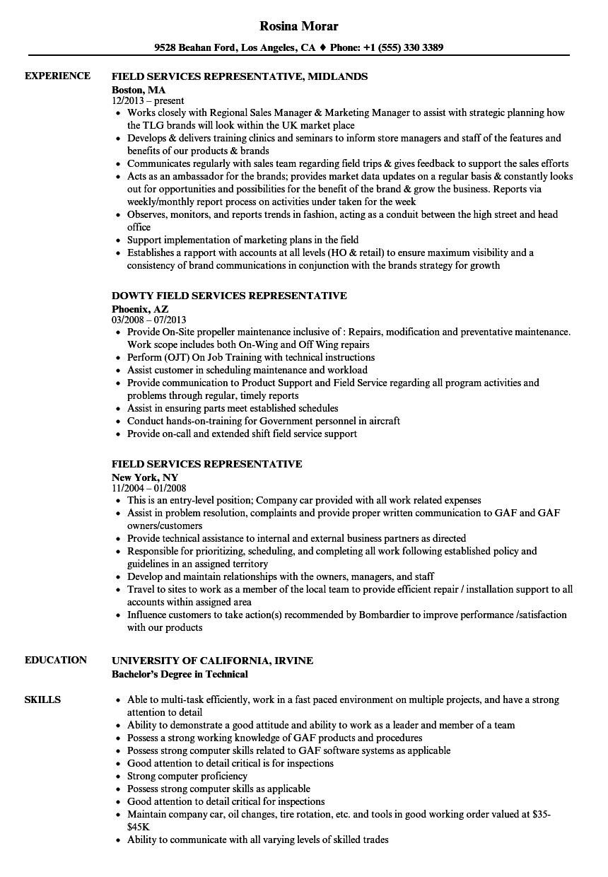 Field Services Representative Resume Samples Velvet Jobs