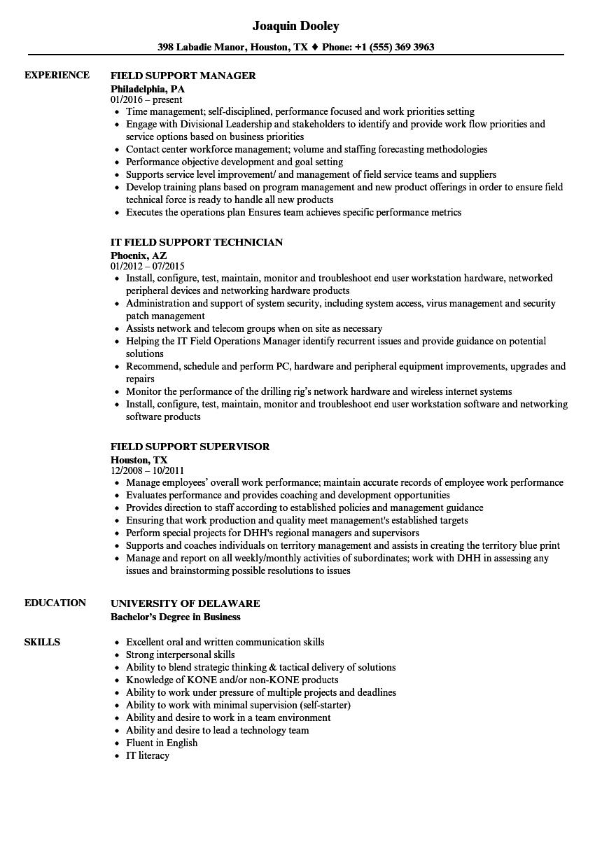 field job resume sample