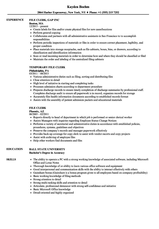 filing clerk resume samples