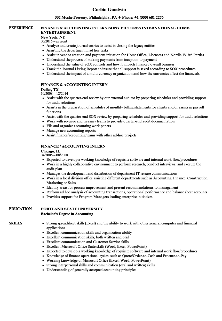 Finance Internship Resume Sample Finance Intern Resume