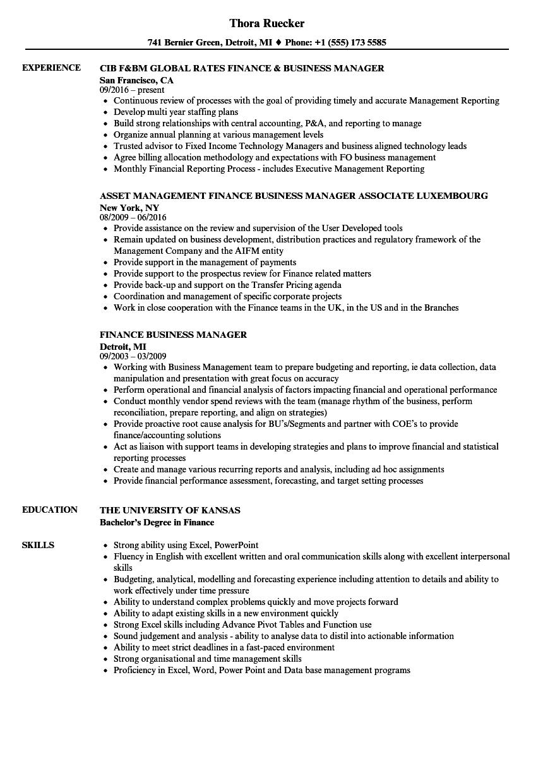 finance business partner resume sample