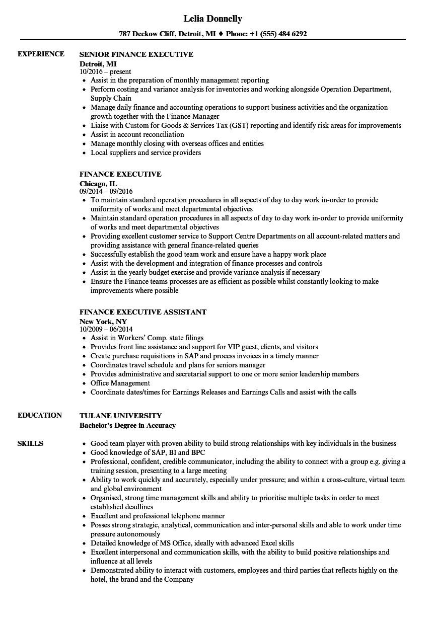 Related Job Titles. Finance Resume Sample