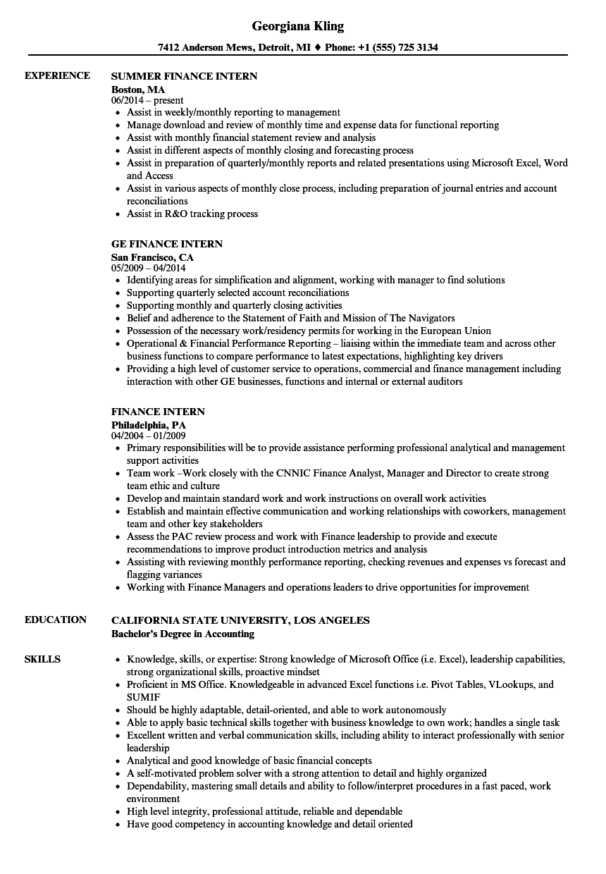 Download Finance Intern Resume Sample As Image File