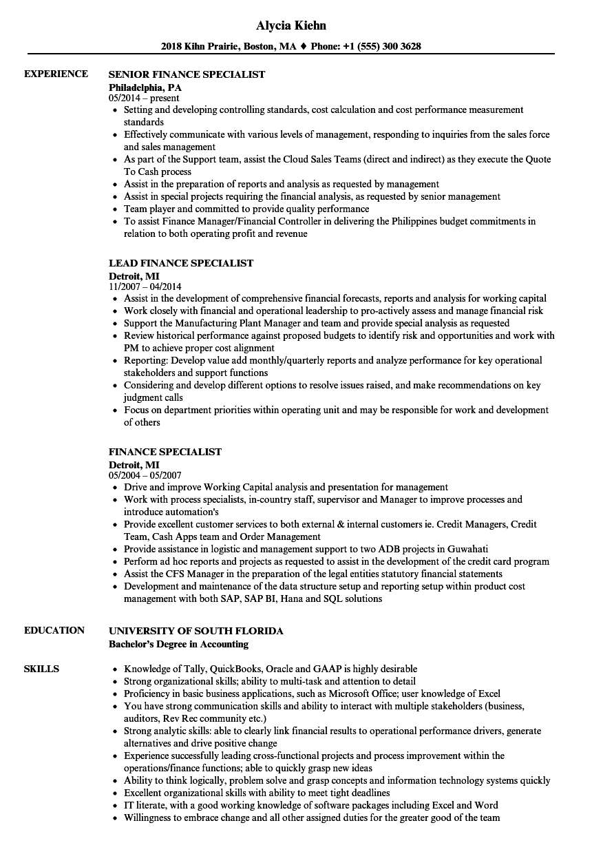 sample finance management resume