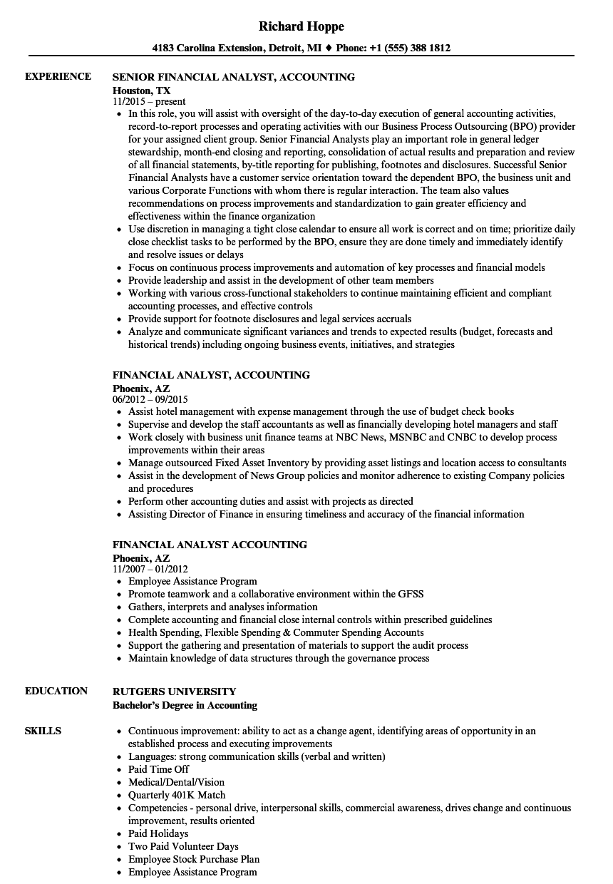 Financial Analyst Accounting Resume Samples Velvet Jobs