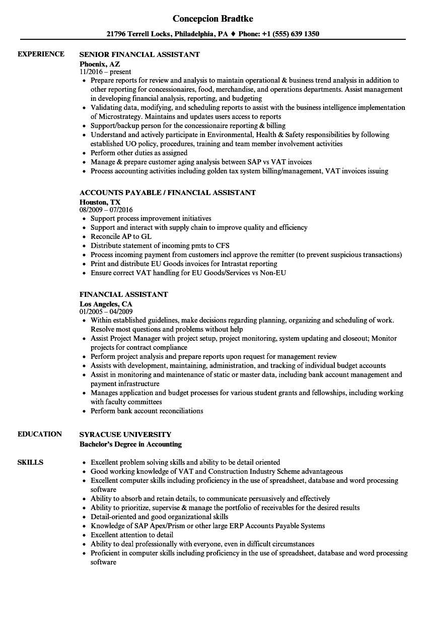 Download Financial Assistant Resume Sample As Image File