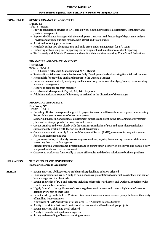 Financial Associate Resume Samples | Velvet Jobs