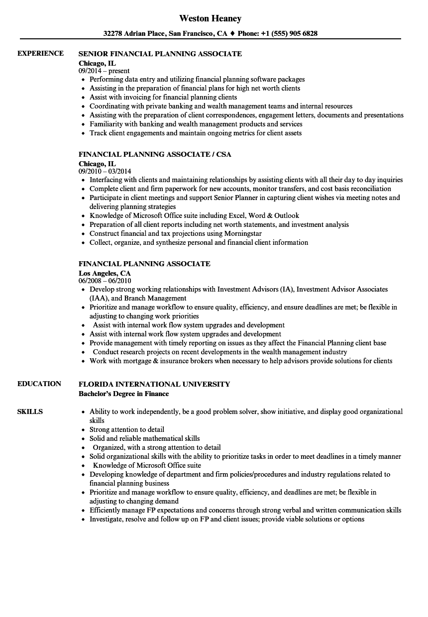 Financial Services Associate Resume  Financial Associate Resume Sample Two