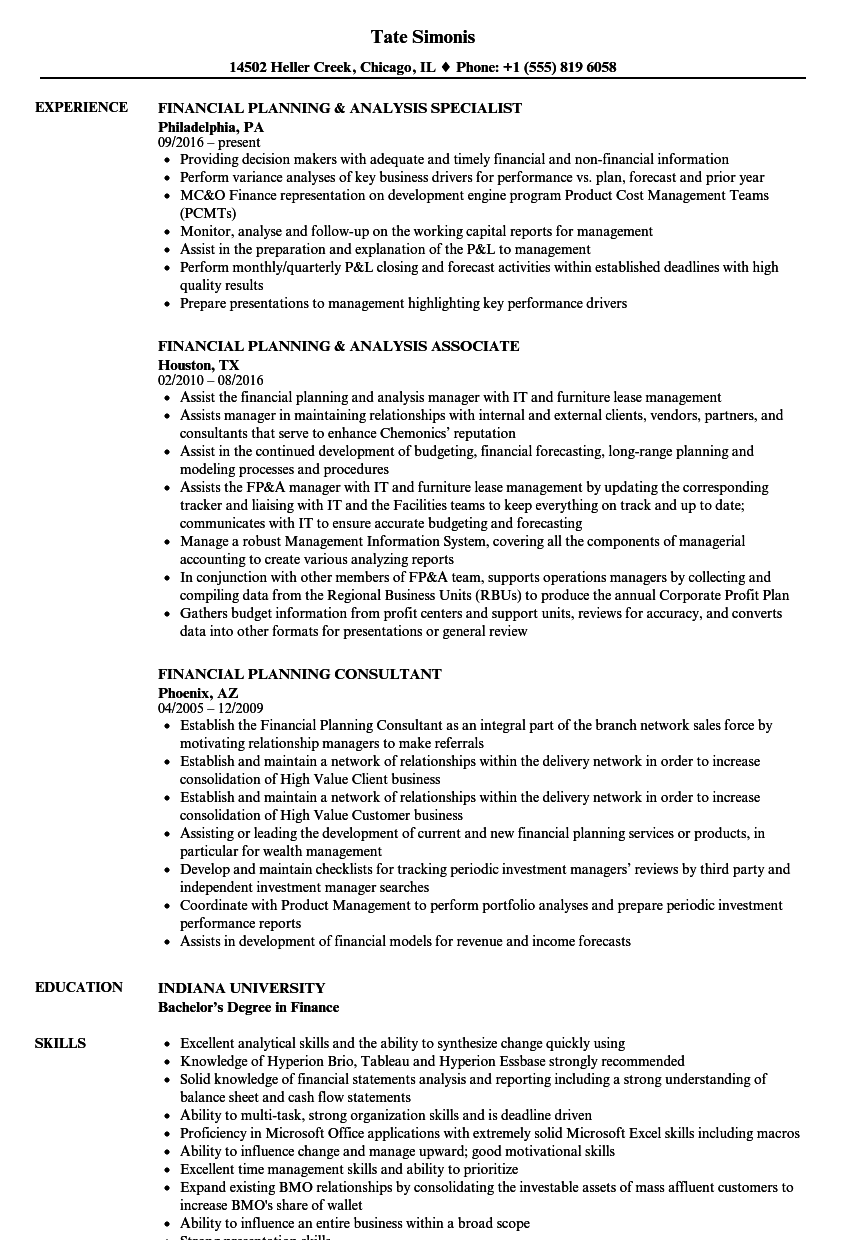 Financial Planning Resume Samples Velvet Jobs
