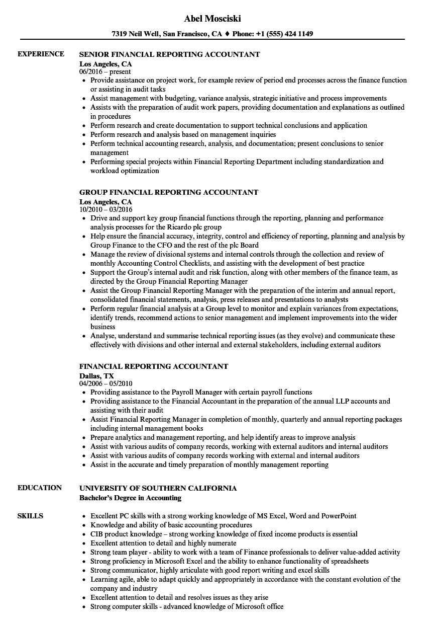 Download Financial Reporting Accountant Resume Sample As Image File