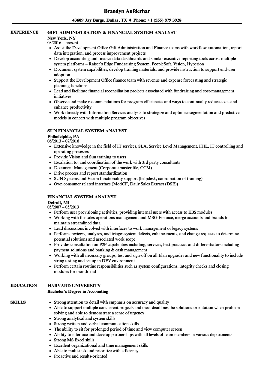 Financial System Analyst Resume Samples | Velvet Jobs