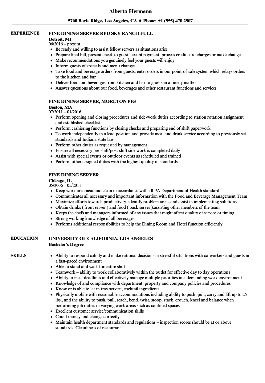93 Resume Example For Server They Include Content That