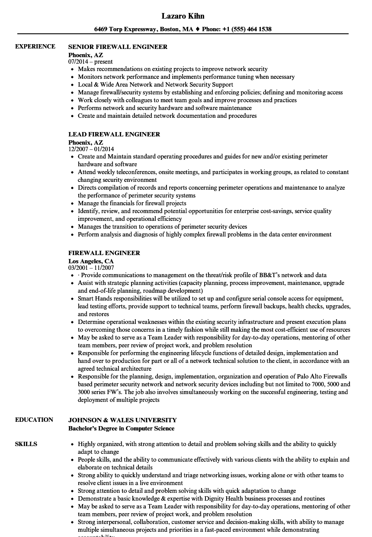 firewall engineer resume sample