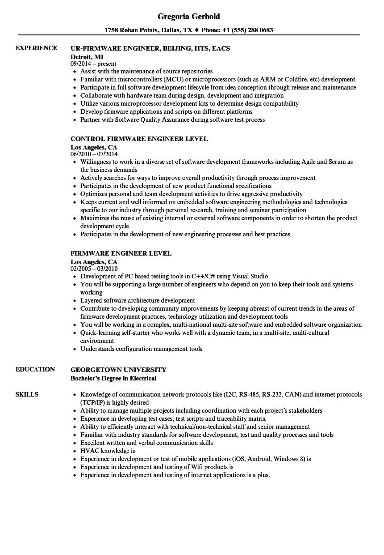 firmware developer resume sample