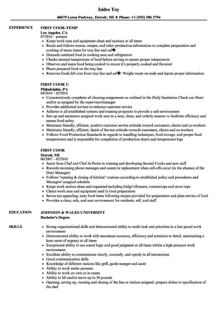 Download First Cook Resume Sample As Image File