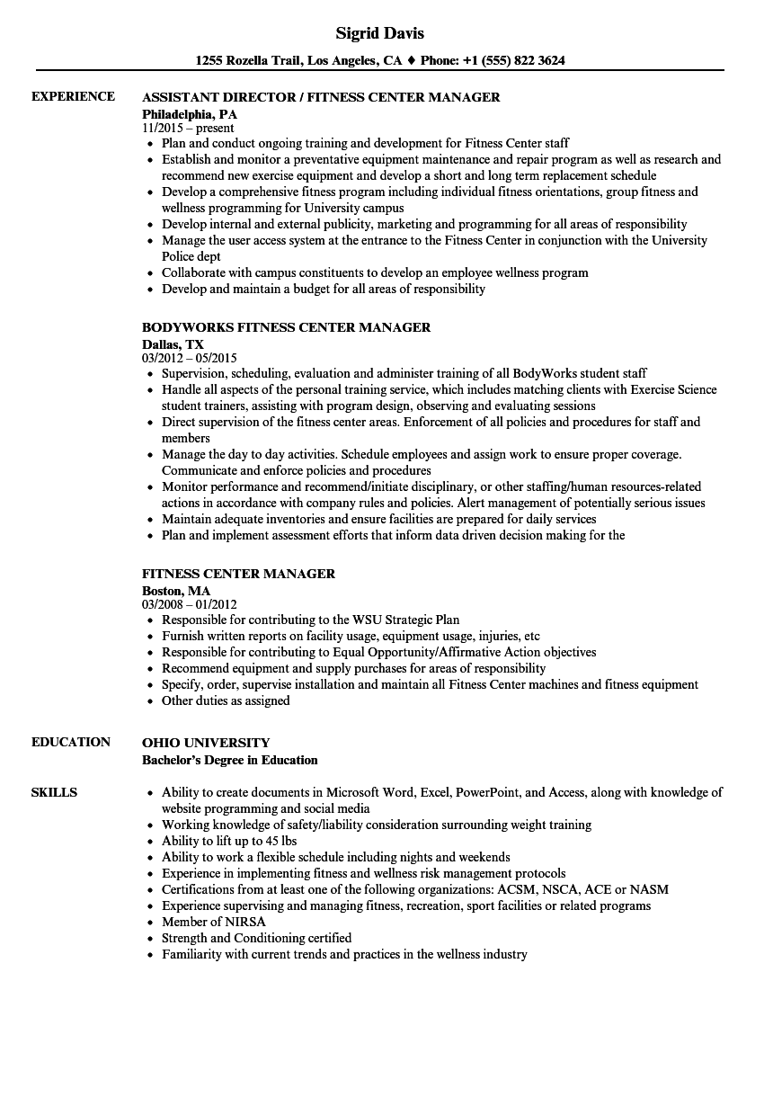 resume to work at a gym