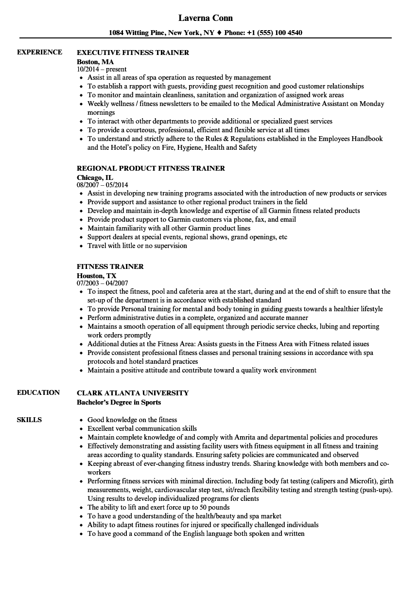 Fitness Trainer Resume Samples  Velvet Jobs