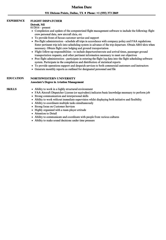 flight dispatcher resume samples