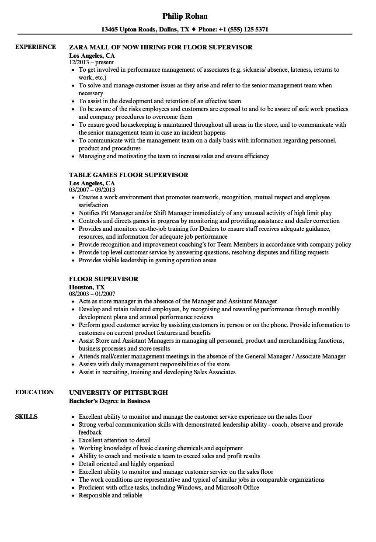 Download Floor Supervisor Resume Sample As Image File