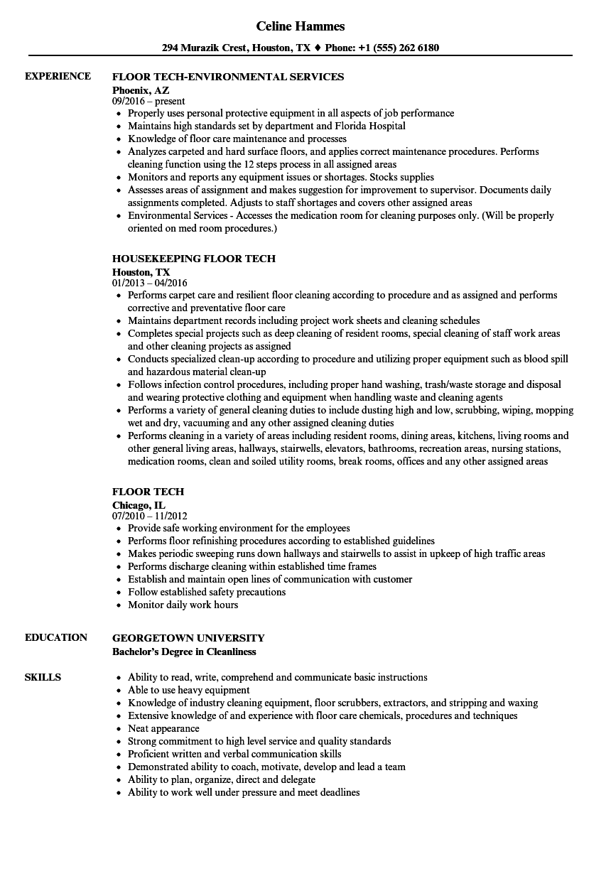 Floor Tech Resume Samples Velvet Jobs