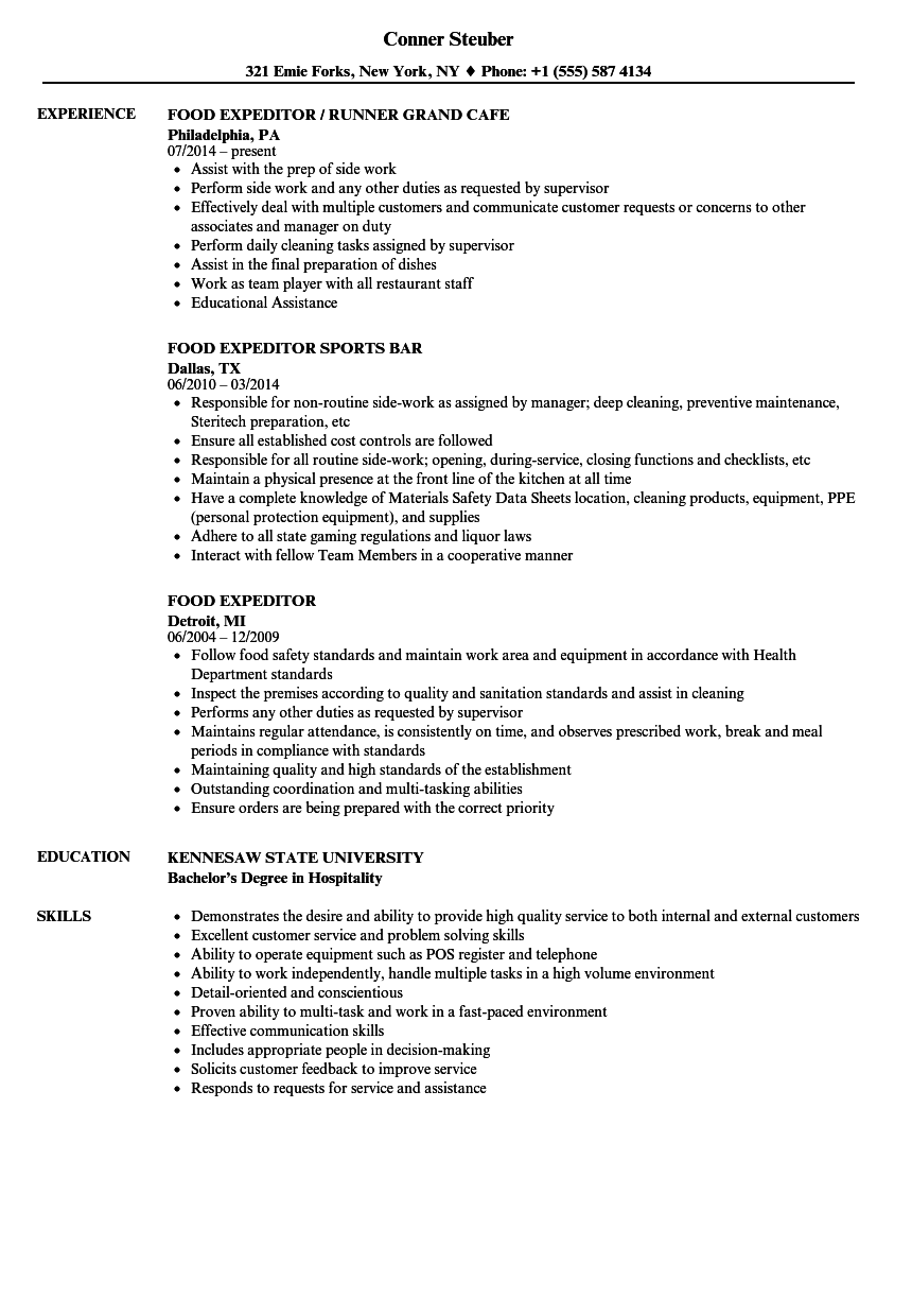 Food Expeditor Resume Samples  Velvet Jobs