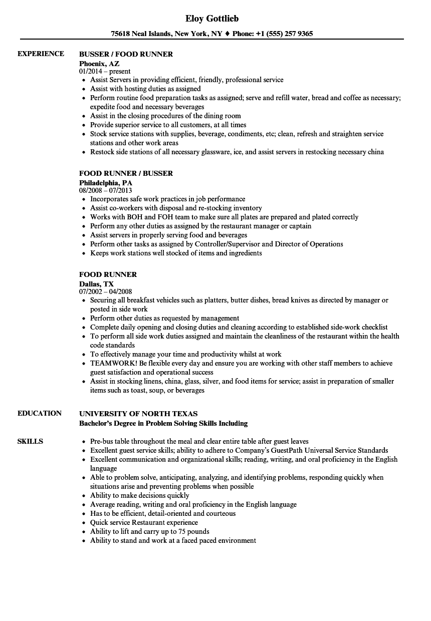 Food Runner Resume Samples Velvet Jobs