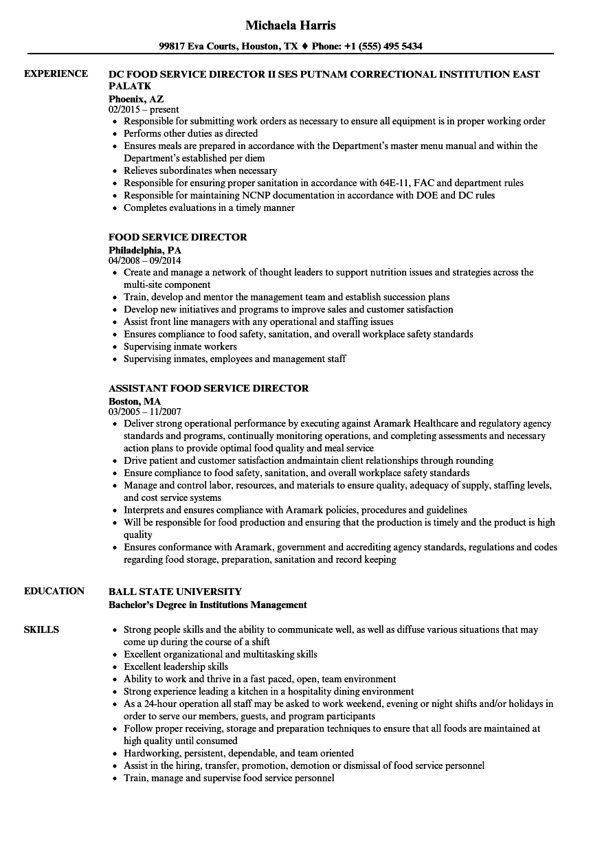 food service management resume examples