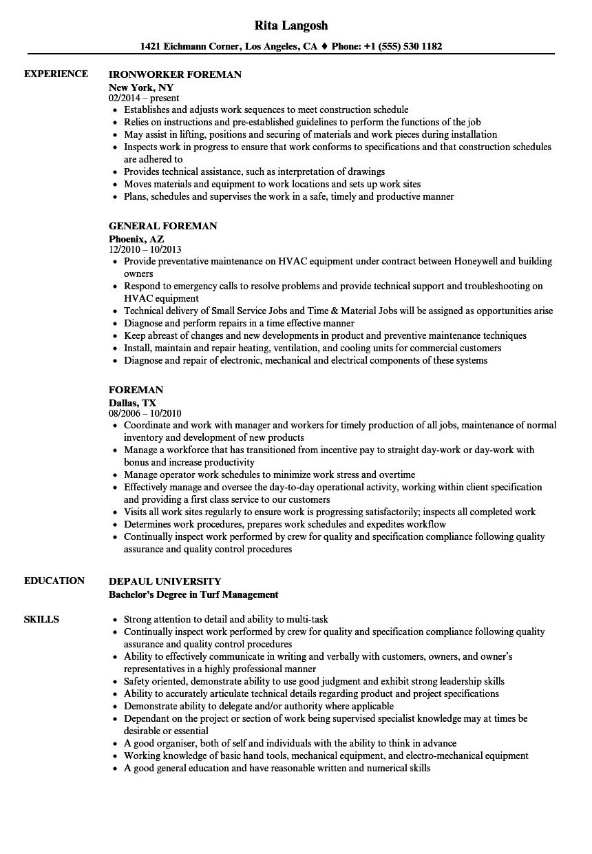 Foreman Resume Samples Velvet Jobs