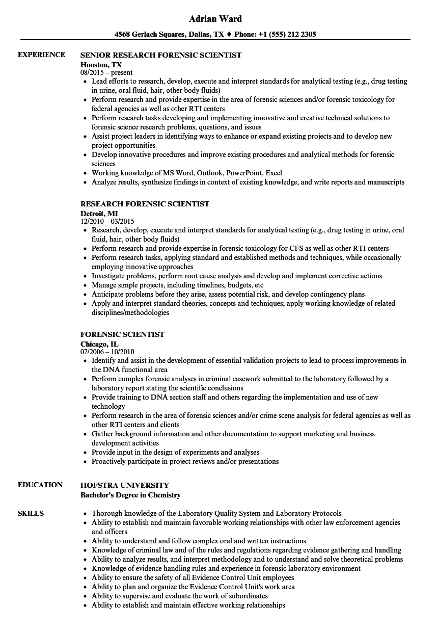 Forensic Scientist Resume Samples Velvet Jobs