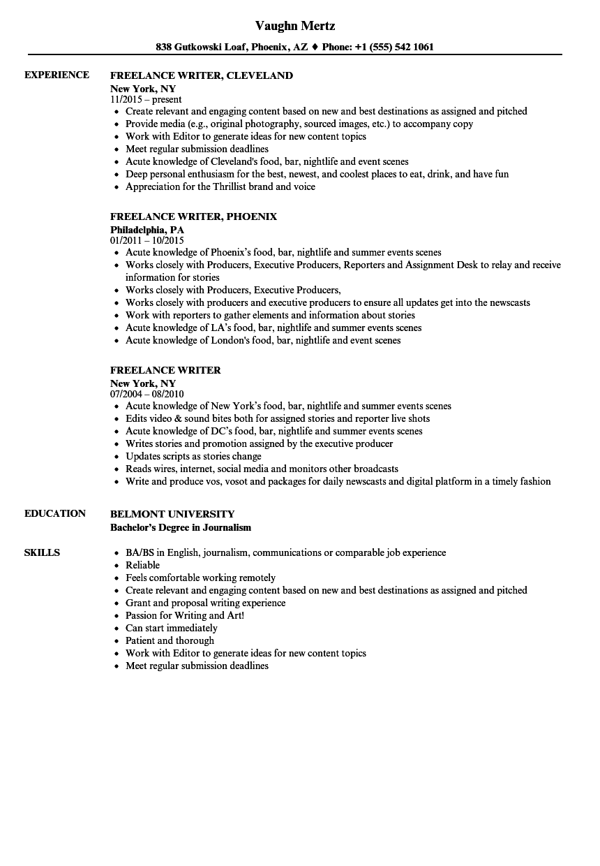 Freelance Writer Resume Samples Velvet Jobs