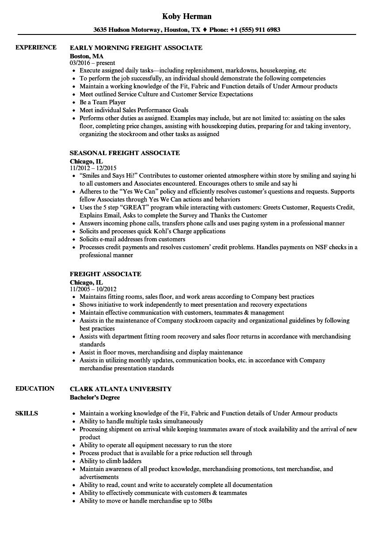 freight associate resume sample