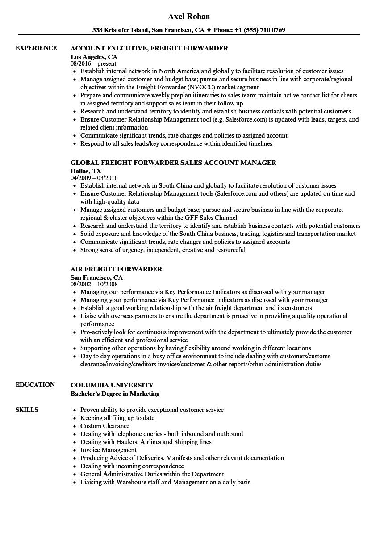 frieght sample resume