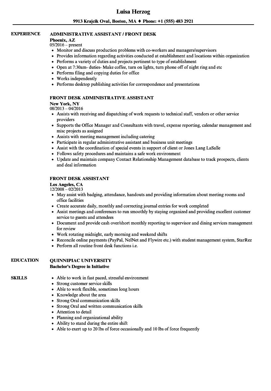 Download Front Desk Assistant Resume Sample As Image File