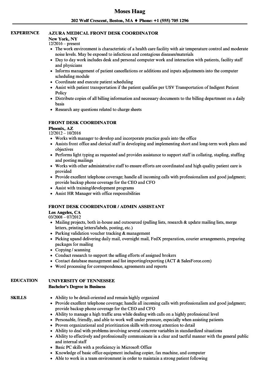 Front Desk Coordinator Resume Samples  Velvet Jobs