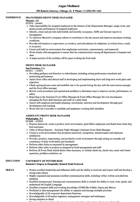 Front Desk Manager Resume Samples  Velvet Jobs