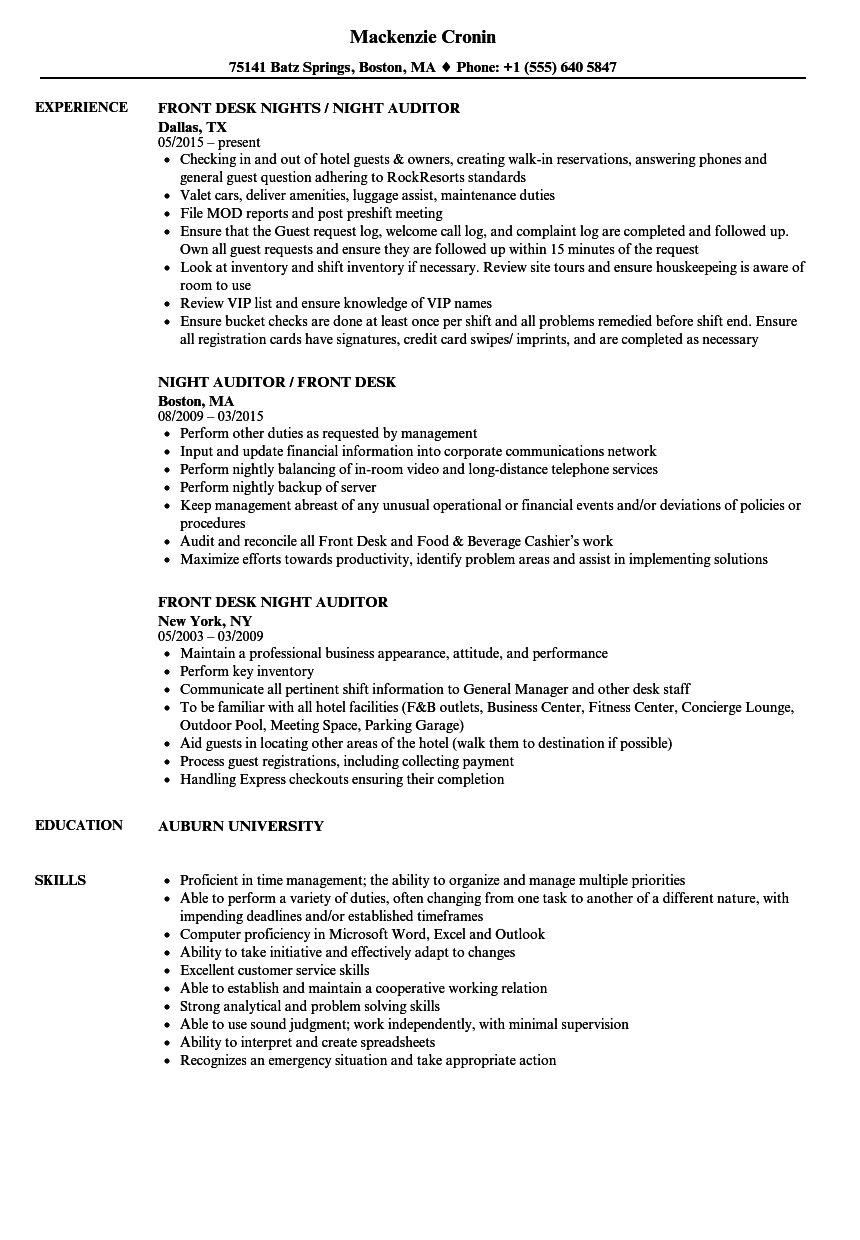 Front Desk Night Auditor Resume Samples  Velvet Jobs