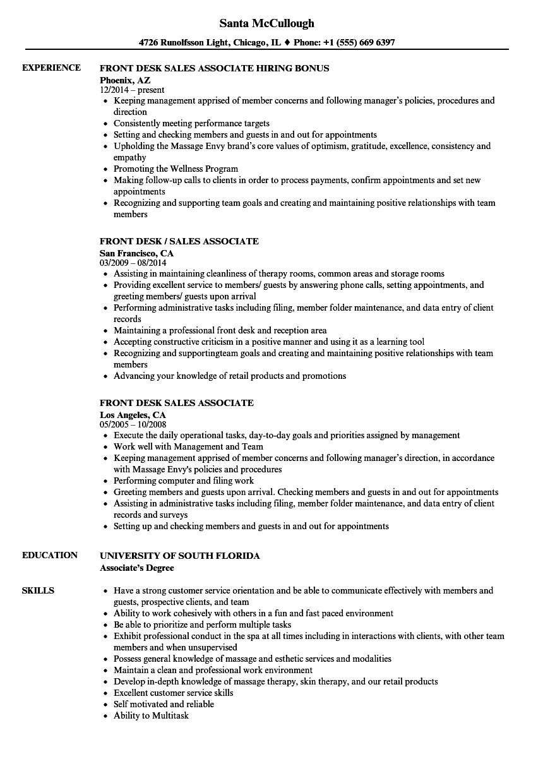 Download Front Desk Sales Associate Resume Sample As Image File