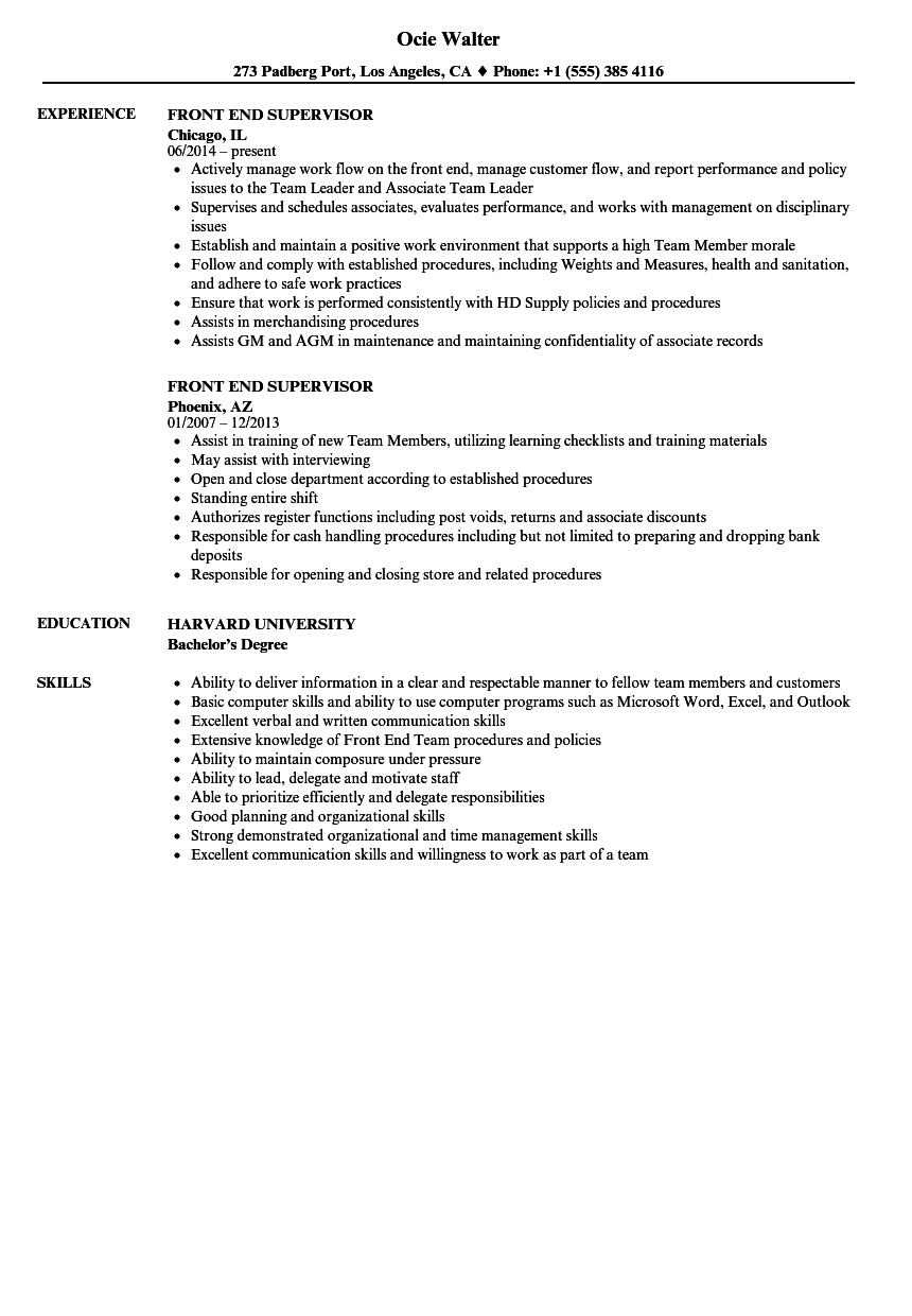 resume supervisor experience examples