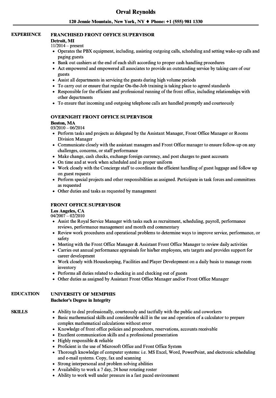 Front Office Supervisor Resume Samples Velvet Jobs