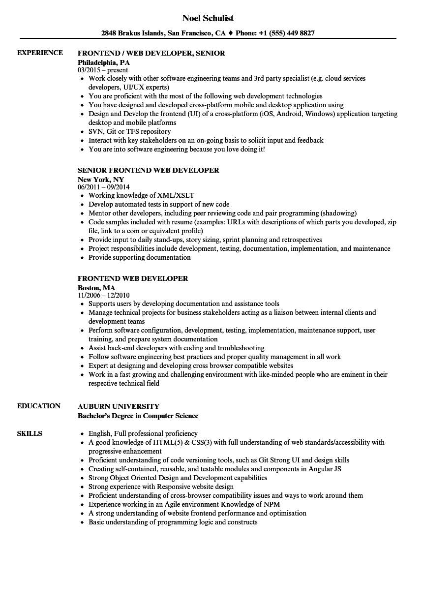 front end web developer sample resume