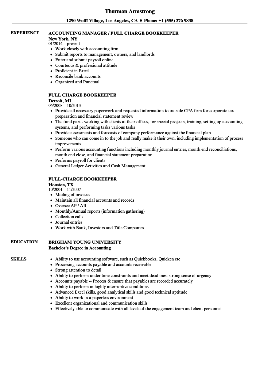 Bookkeeper Resume Examples Examples Of Resumes