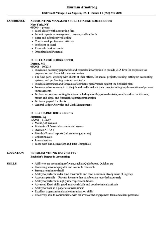 Bookkeeper Resume Examples Resume Sample