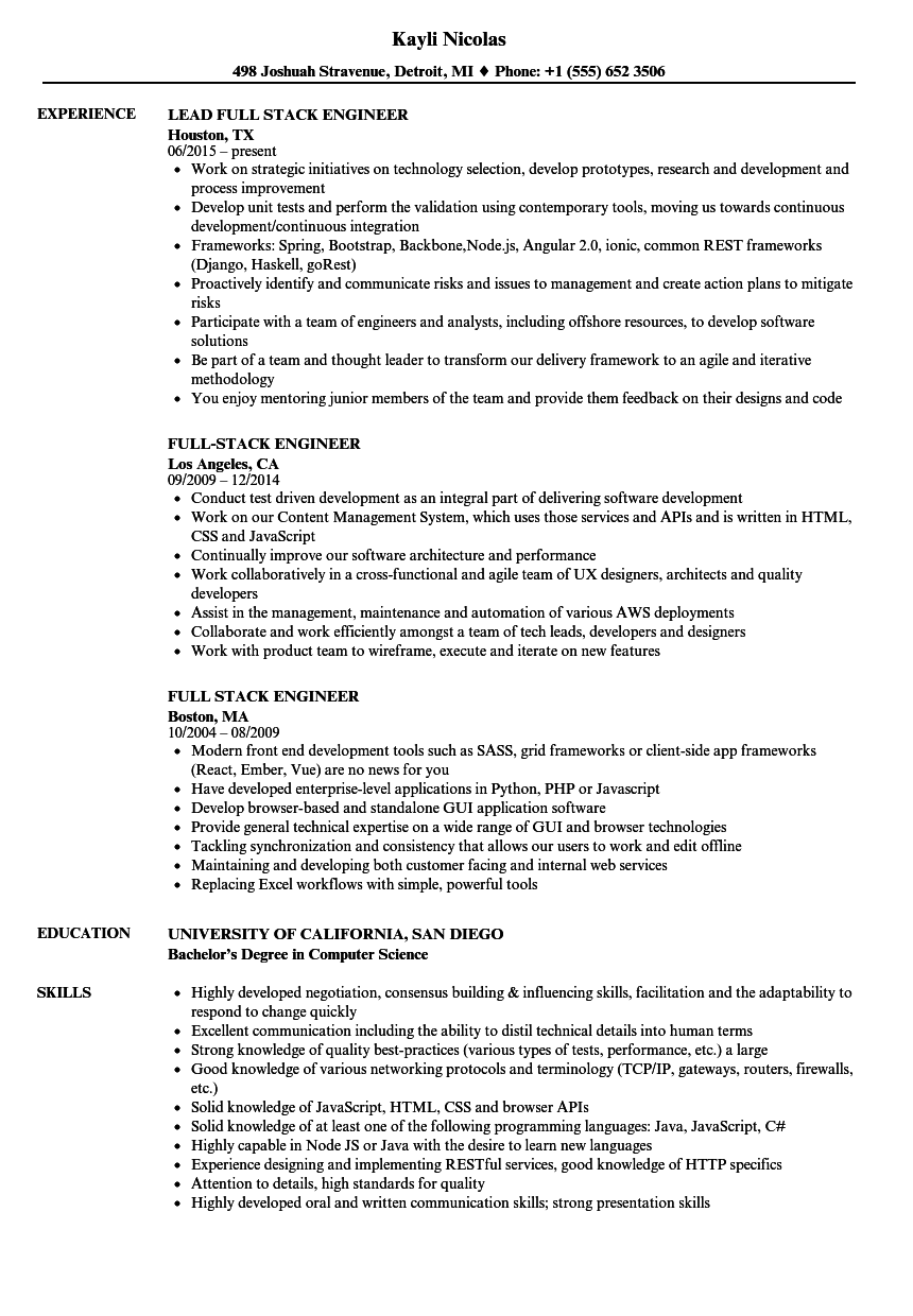 Full Stack Engineer Resume Samples Velvet Jobs
