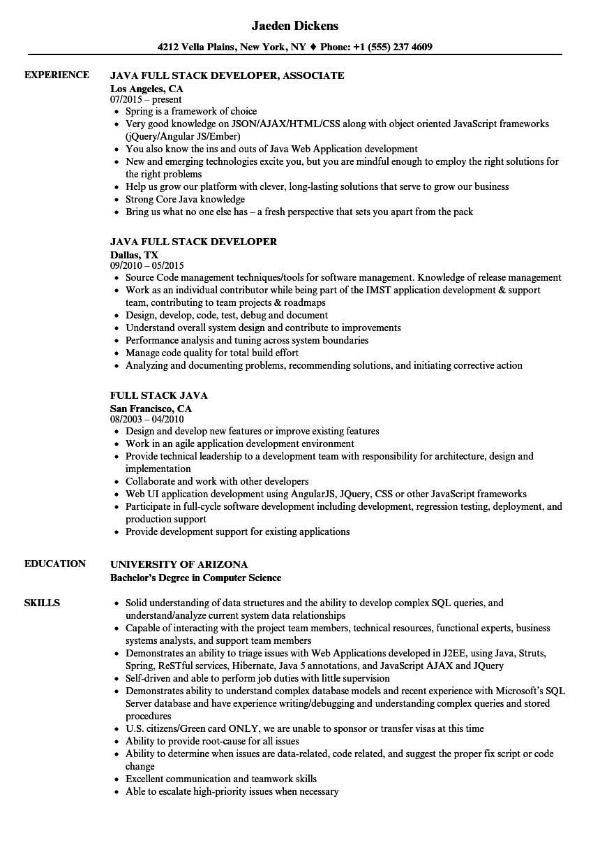 Full Stack Java Resume Samples Velvet Jobs