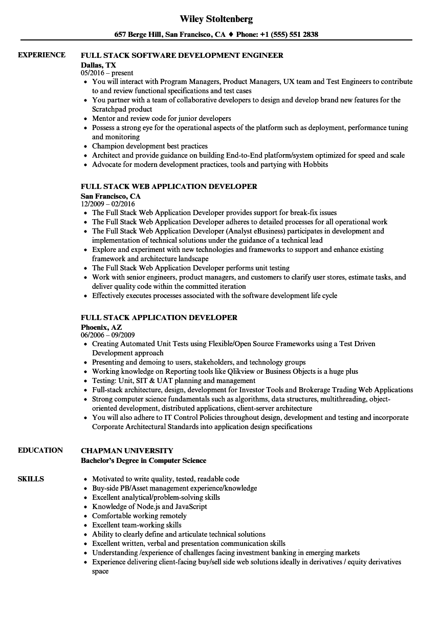 Full Stack Resume Samples Velvet Jobs